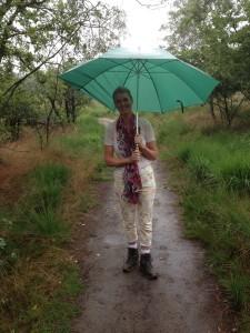 Linda in de regen